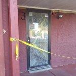 Shattered entrance/exit door