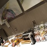 Good variety for breakfast including DIY waffle bar, oatmeal bar and breakfast bowls! (maple syr