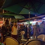 Outdoor seating and a live band