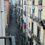 Las Ramblas can be seen from the terrace, just a few minutes walk along old cobblestone