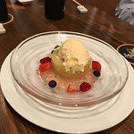 Peach compote with cream cheese ice cream