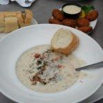 Alaska smoked salmon chowder and king crab nuggets