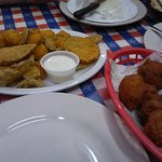 Hush puppies. fried tomatoes, fried corn, fried pickles