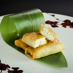 Deep-fried Shrimps Spring Rolls with Barbecued Pork, Mushrooms and Bean Curd