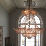 Chandeliers & Stained Glass along the hallway in the main house