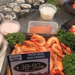 Delicious prawns & oysters.