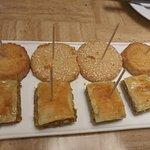 Mezze platter, dessert platter & Turkish coffee.