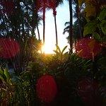 Blick von der Zimmerterrasse auf Pazifik und Sonnenuntergang