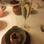 Desserts of chocoate terrine and elderflower jelly