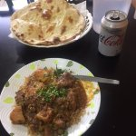 3 curries, rice and a naan