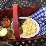 Breaskfast serviced in a basket each morning! Beautiful and tasted great!