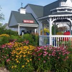 Our beautiful gazebo scene leading you to the drive thru for your early morning coffee fix!