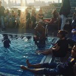 Lounging Poolside, NYC Skyline !