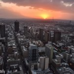 The sun sets in Jozi.