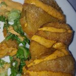 Salad with fried green tomotoes