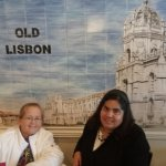 Lena and me celebrating at Old Lisbon, this wall is inside the restaurant.