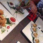 Crispy pepper squid, moo ping, pork dumplings