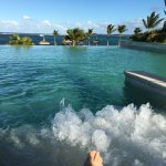 Massage jets from the infinity pool looking out to sea overlooking the lagoon