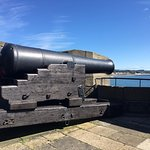 cannon at the castle with a beautiful view