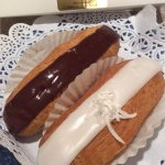 Chocolate and coconut eclairs