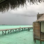 Even when stormy its beautiful. View to jetty and next villa