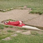 Playing dead at Whitby Abbey
