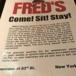 Fred's menu cover.