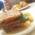 Vege-tario sandwich with plantain chips