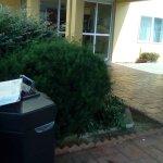 Trash can at entrance left side