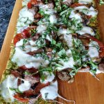 Margherita flatbread with sausage and mushrooms. WOW !!!