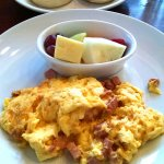 Minced ham and scrambled eggs, muffins, and fruit. WOW !
