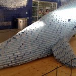 A whale display created from empty plastic bottles! Compelling!