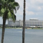 A view of the Contemporary Resort and Bay Lake Tower from the Grand Floridian Resort