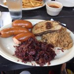 Knackwurst With Red Cabbage And Sauerkraut