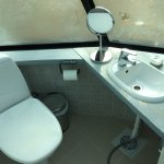 Toilet and wash basin in Glass Igloo