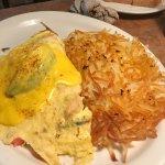 The Louisiana Omelet with shrimp and avocado