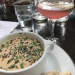 Brazilian Shrimp Soup, crusty bread, Lavender Blossom Cocktail