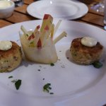 Dungeness Crab cakes with fennel and apple