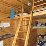 The inside of our cabin. Kitchen area had dishes and coffee maker also.