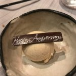 Anniversary surprise waiter brought to table