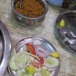 Veggie biryani and salad