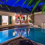 Villa Sun- Pool and Villa at night