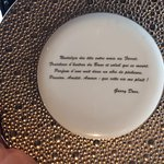 Neat bread plate with French quote about the sea