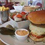 Mushroom burger & chips