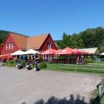 Café Restaurant Seeterrassen - mit einem Motorradparkplatz der direkt an die Terrasse grenzt - d