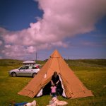 Tipi Camping by the Stream with a toddler
