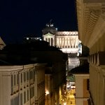 View of Via dei Corso and the Victor Emmanuel monument from our terrace, at night.
