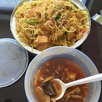 Singapore Noodles with curry, Shrimp  & mixed veggies are Awesome at Maine Kwong. Give them a tr