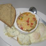 My brunch casserole with biscuits & gravy and eggs & toast.