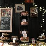 Homemade cakes on display